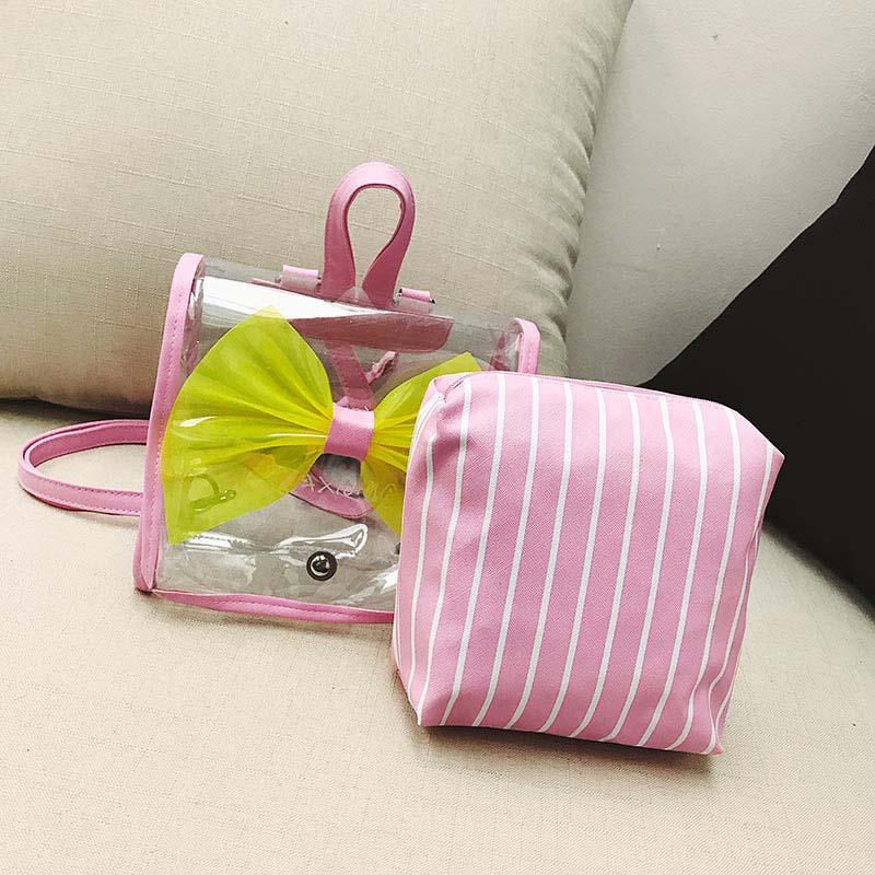 Wellvo Kids Cute Bow Mini Backpack for Teenage Girls Small PVC Shoulder Bags Simple Lovely Preppy Style Kawai Rucksack XA312WB