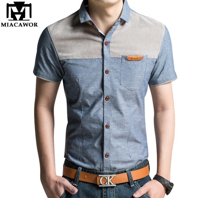 b5b95e8c2b Plus tamaño 4XL diseño de marca hombres camisa de verano de manga corta  Camiseta Casual Slim