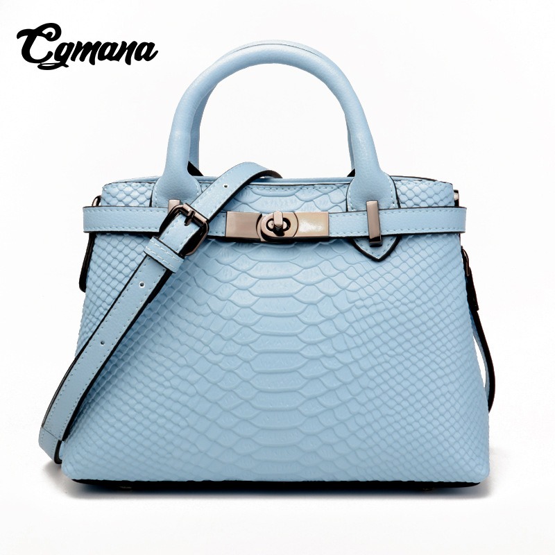 CGmana Brand Women Genuine Leather Handbags 2018 Famous Brands Handbag Cow Leather Crocodile Texture Messenger Shoulder Bag Tote women crocodile embossed bag handbags 100% genuine cow leather for women handbag flaps shoulder tote messenger bag famous brands