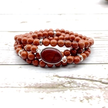 Natural Mala Stone Bead Bracelets Yoga Necklace Elastic Woman Bangle Red Jaspers Silver Color Hot Sale Drop Shipping