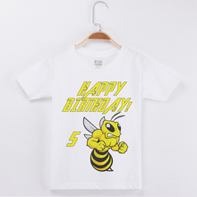 New Arrivals Kids Clothes O-Neck T-shirt Happy Birthday Bee Printing Cotton Short Sleeve Boy Tees Fashion White Boys Tshirts