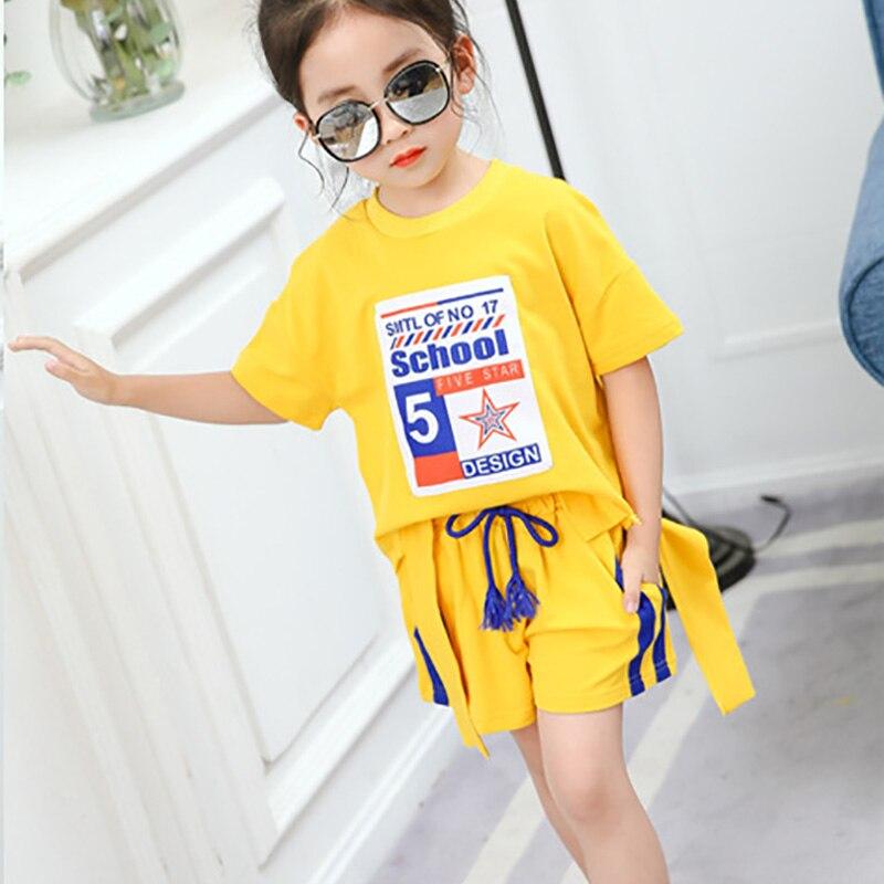 Beigele комплект для девочек 2018 летняя одежда комплект одежды для девочек с модным принтом короткий рукав Футболка верх + шорты Повседневные ко