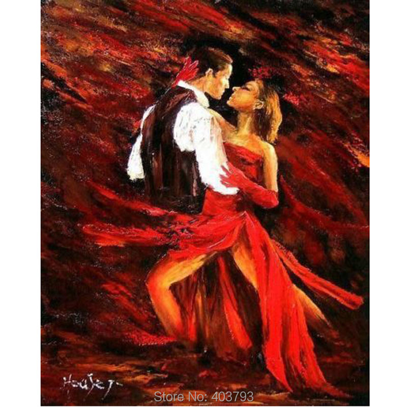 Handpainted Modern Abstract Oil Painting Elegant Hot Cha Cha Dance No Framed Home Decoration Canvas Art in Painting Calligraphy from Home Garden