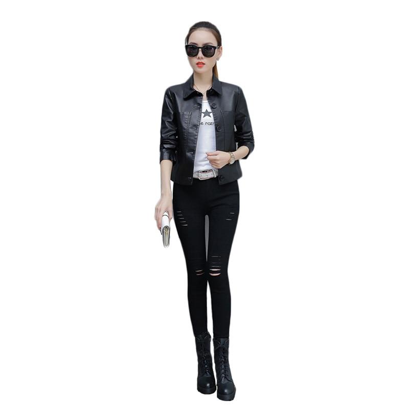 PU   Leather   Coat Women Korean Short Slim Black Jacket 2019 New Spring Fashion Casual Loose Plus Size   Leather   Coats Feminina LD855