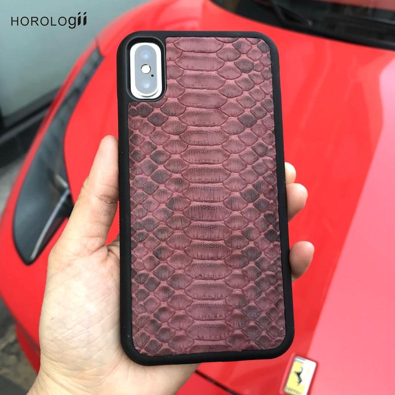Horologii housse Peau de python en cuir pour le cas iphone 7 X Xs cas de téléphone de luxe pour dame nom personnalisé service de luxe paquet