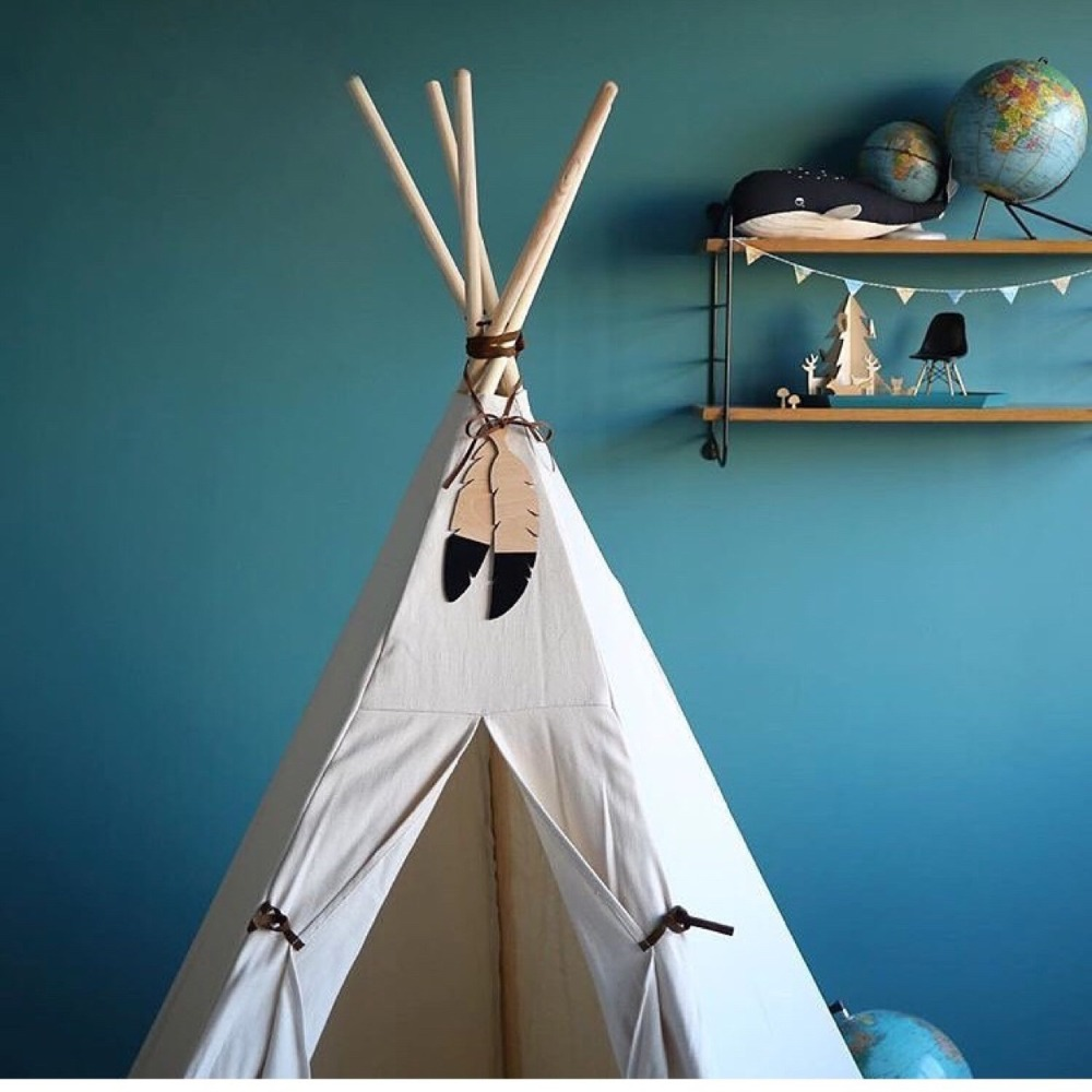Nordic Wooden Feather Teepee Topper Decor Tent Decor Accessories Kids Room Decor Garland 2pcs/Set