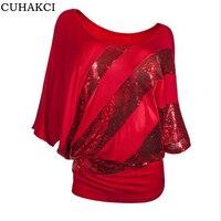 CUHAKCI Elegant Fashion Women Summer Tops Shiny Metal Stitching Round Neck Sequins Bats Short Sleeves Woman
