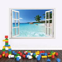 New Beach 3D Window View Removable Wall Stickers Vinyl Decal Mural Home Decor