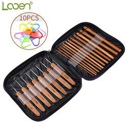 Looen 20 pçs de bambu crochê gancho tricô agulhas de malha com saco tecer fios ofícios camisola cachecol chapéu ferramenta com 10pcs ponto fabricantes