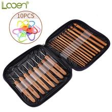 Looen Brand 20pcs Bamboo Crochet Hooks Needles Knit Weave Craft Yarn Sewing Tools Knitting Hook Set with Case