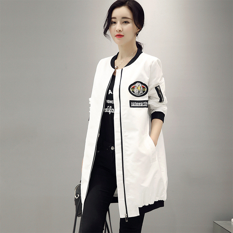 New Fashion 2017 Spring Autumn Women s Mid Long Basic Coats Female Casual Baseball White Black