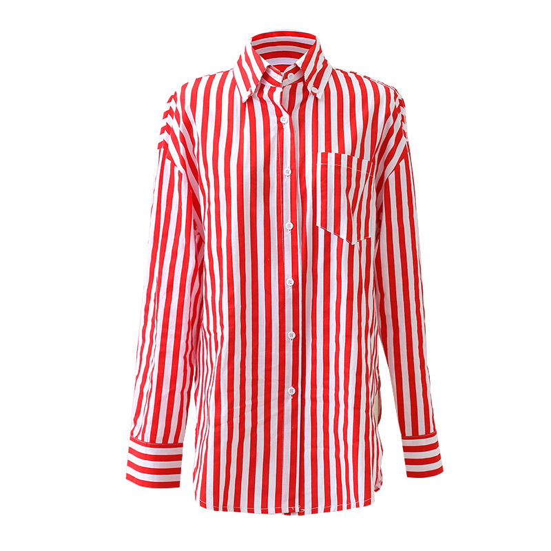 2e7ddc231d Aliexpress.com : Buy White and Red Vertical Striped Shirts Womens 2018  Casual Long Sleeve Turn Down Collar Tops With Pockets Ladies Cotton Blouse  from …