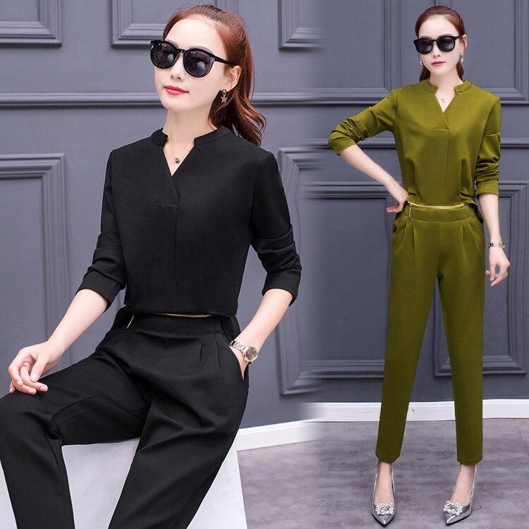ヾ ノ2017 Spring Korean Fashion Women V Neck Shirt Pants