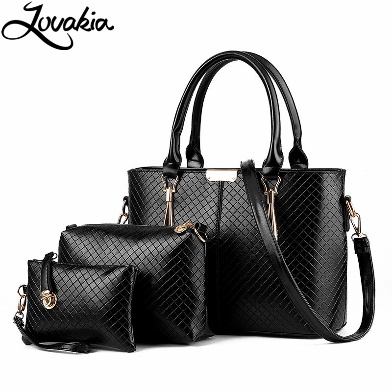 ФОТО Lovakia Famous Brand Women Bag Top-Handle Bags 2017 Fashion Women Messenger Bags Handbag Set PU Leather Composite Bag