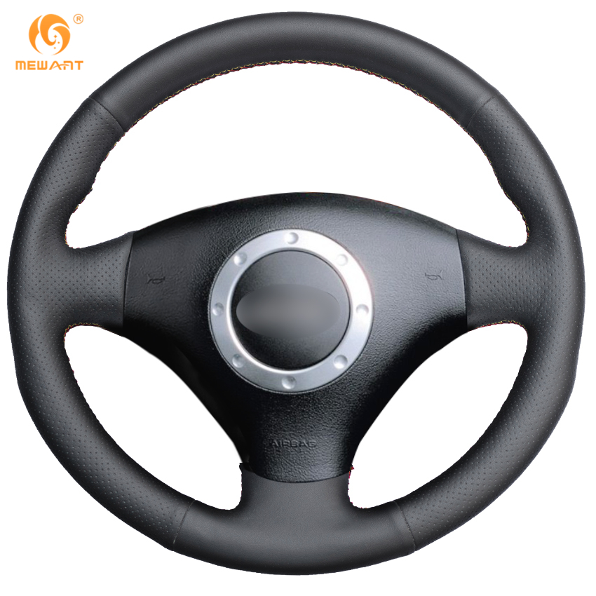 MEWANT Black Genuine Leather Car Steering Wheel Cover for Audi TT 1999-2005 A3 3-Spoke 2000-2003 genuine leather car steering wheel cover for audi a4l a6l a3 q3 q5 q7 car accessories styling