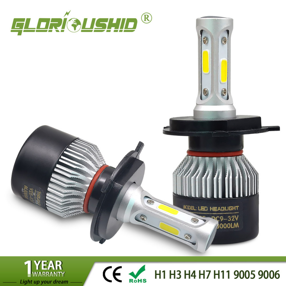 2Pcs Auto H4 Led H7 H1 H3 H11 H8 H9 9005 HB3 9006 HB4 Car Headlight Bulbs Hi/Lo Beam 72W 8000LM 6500k Car Led Light Headlamp 12V