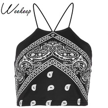 Weekeep Black Strap Cross Criss Camisa Women Sexy Bodycon Backless Print Crop Top Summer Tops For Women 2018 Cropped Bustier Top