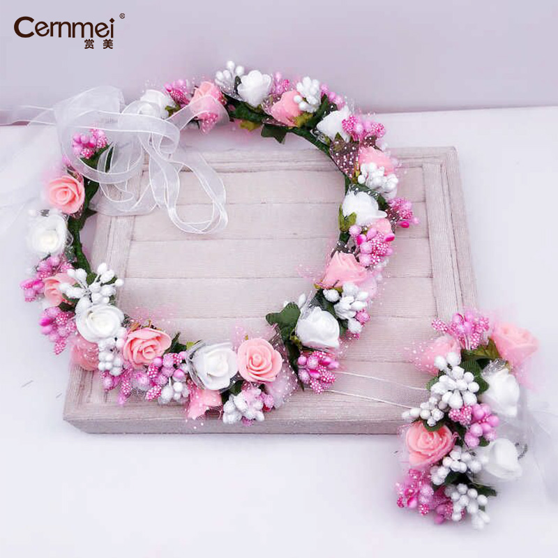 Lovely Women Bride Wedding Rose Flower W/Mesh Wreath Headband Kids Party Floral Garlands Ribbon Adjustable Flower Crown