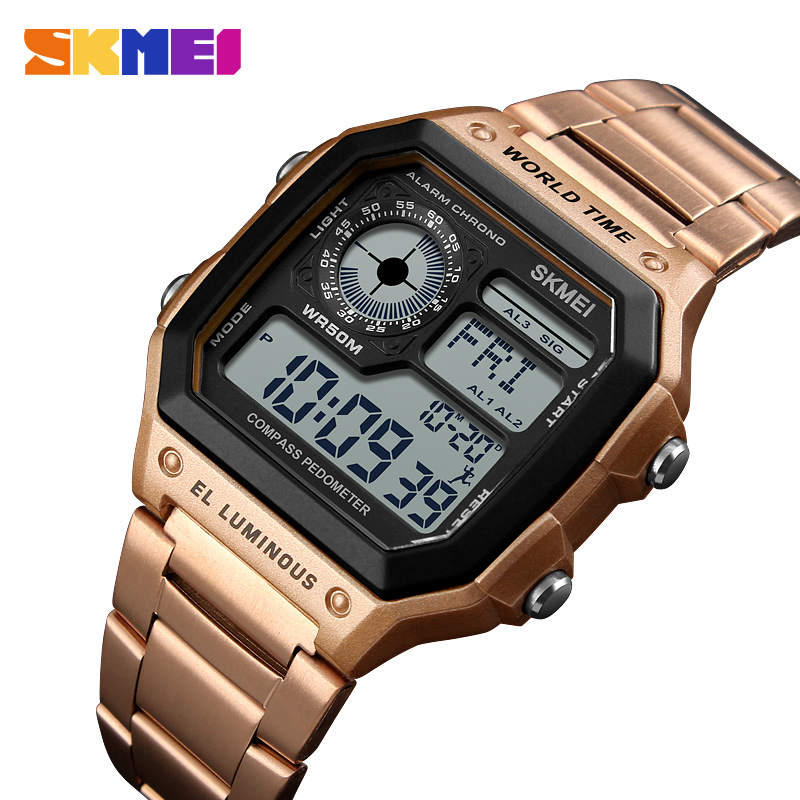 <font><b>SKMEI</b></font> Men's Square Digital Watches Gold Silver Electronic Wristwatches Reloj LED Waterproof Compass Luxury Stainless Steel image