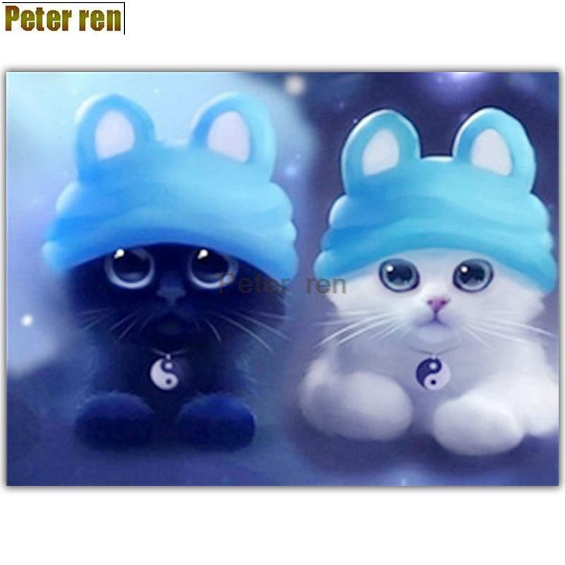 Peter ren diamond painting cross stitch Couple cats 5d Diamond drawing living room round diamond Full embroidery Gossip cat
