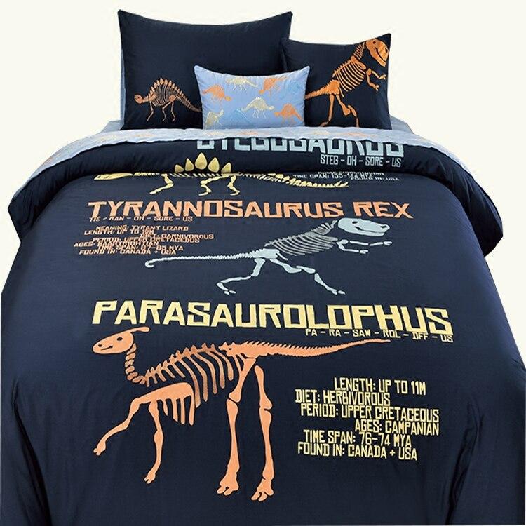 Бесплатная доставка, 100% хлопок, Детский комплект с вышитым динозавром из мультфильма, 3/4 шт., комплект для кровати, двойной, полный, Королевск