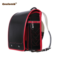 Coulomb Randoseru School Bags For Boy Children's Backpack PU Leather Solid Zipper&Hasp Adjustable Student Bookbags 2017 Hot