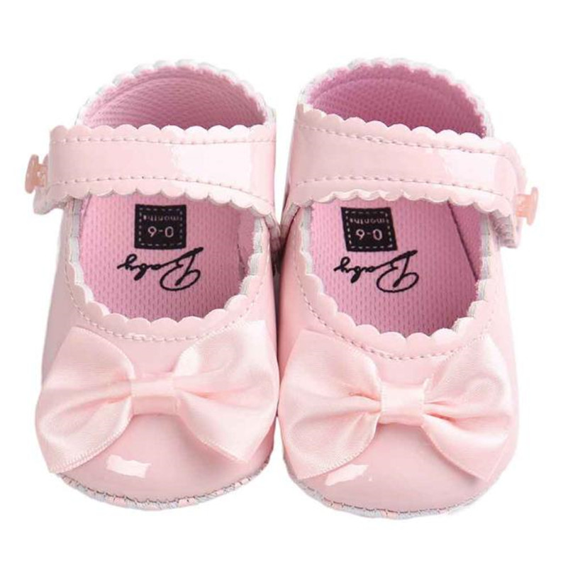New Baby Girl Bowknot Leater Shoes Sneaker Anti-slip Soft Sole Toddlerr For Newborns Children Kid Footwear C3