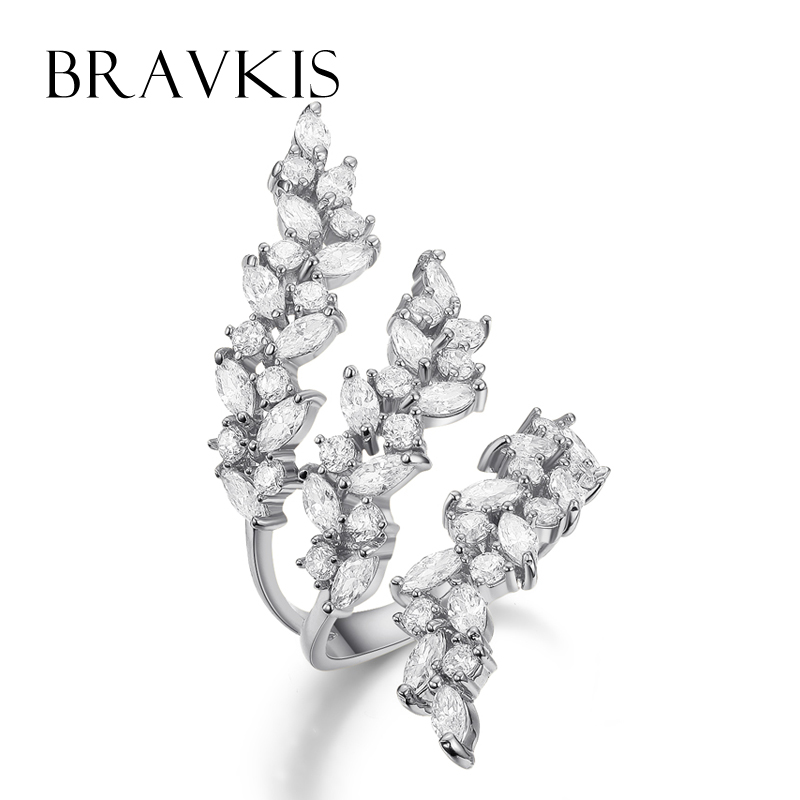 BRAVKIS adjustable ring with crystals layer leaf ring cuff open rings for women hollow rings for
