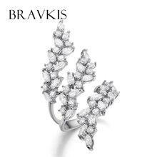 BRAVKIS ajustable anillo con cristales layer hoja del manguito de los anillos anillos abiertos para las mujeres hollow anillos de dedos ringen bijoux BUR0318B