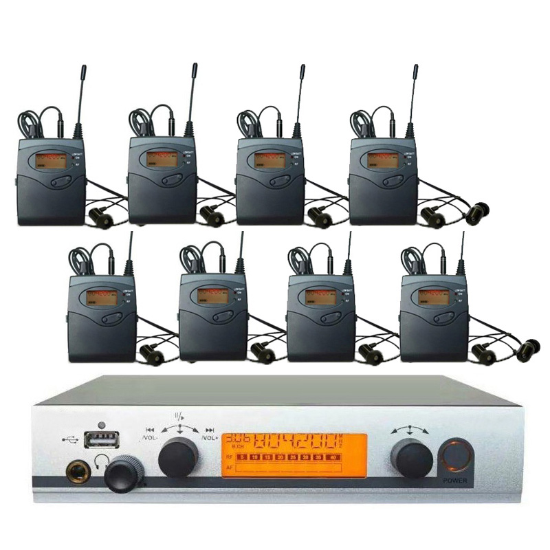 8 Receivers Monitor in ear professional iem System, Wireless Personal In-ear Monitor System Stage feedback for Resale Wholesaler 6 pack receivers wireless in ear monitor system professional dual channels transmitter sr 2050 iem
