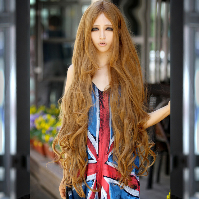 1meter human synthetic wig high temperature wire midsplit bangs 1meter human synthetic wig high temperature wire midsplit bangs wigs earthy yellowtaro color long urmus Images