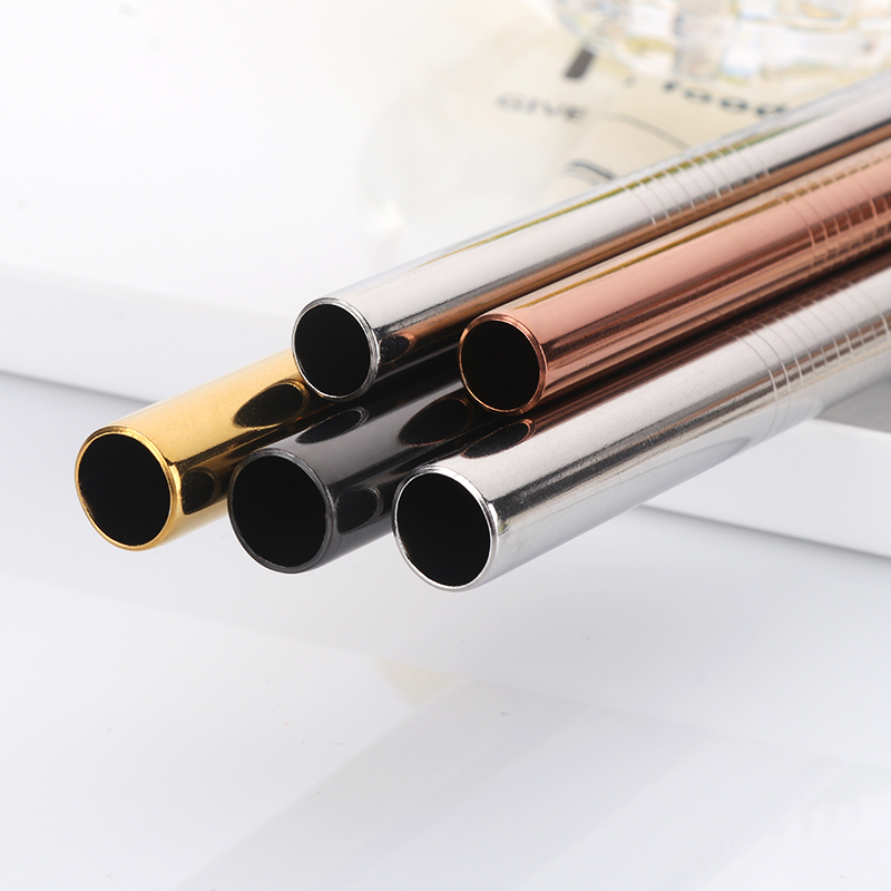 100pcs Stainless Steel Straws Bubble Tea Diameter 12mm/10mm Reusable Drinking Straw Milk Tea Rainbow Metal Straw With Brush