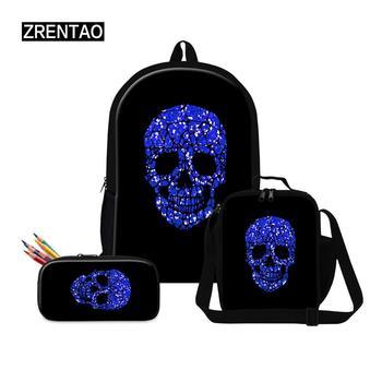 Back To School Supplies Blue/Purple Skull Print Big Kids School Back Pack Bagpack Sets Child Gifts Rucksack Mochila Dropshipping