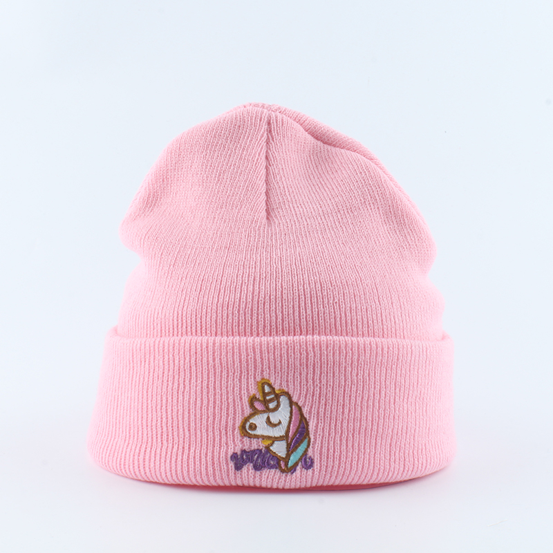 Image 5 - Autumn Women Beanie Winter Knitted Hat Unicorn Embroidery Slouchy Beanies For Ladies Black Skullies Hip Hop Cap-in Women's Skullies & Beanies from Apparel Accessories on AliExpress