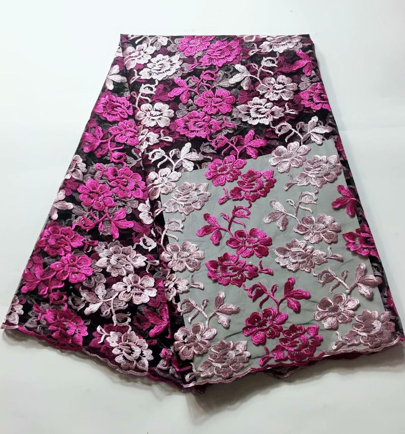 African Lace Florals Pattern 120 Cm Width Fabric For Bridal Sold By The 5Yard