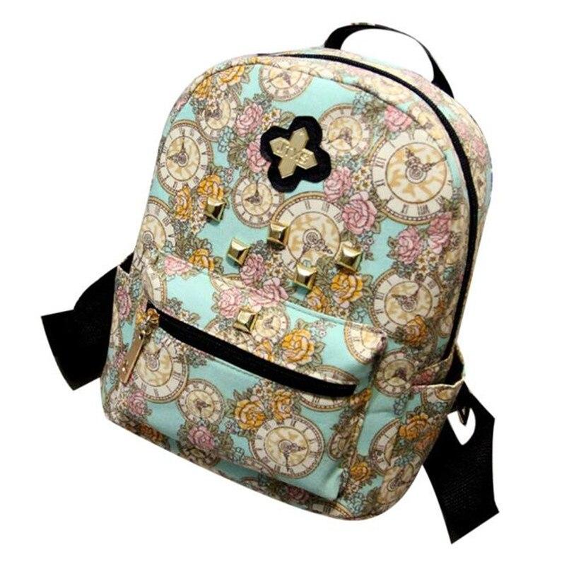 2017 Luxury Brands font b Women b font Fashion Backpack Clock Flowers Canvas font b Bag