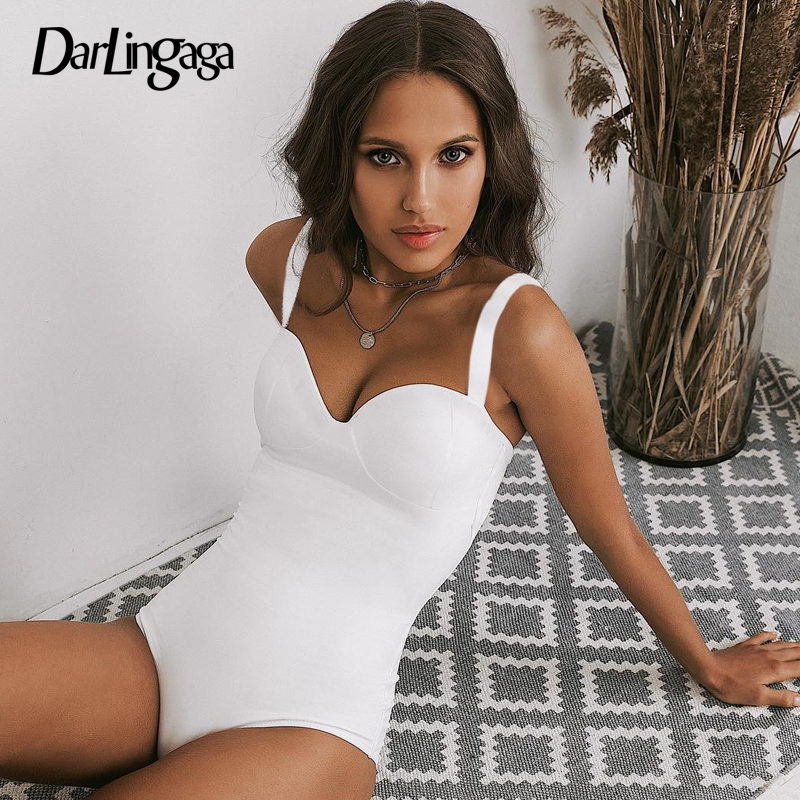 Darlingaga Deep V Neck Fashion Black Bodysuit Women Elegant Sexy Body Spaghetti Strap Bodycon   Jumpsuit   Romper 2019 Summer Short