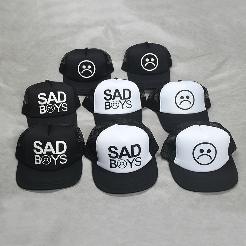 Fashion SAD BOYS Print Trucker Cap Men Baseball Hat Bone gorras Women sun hat sadboy Free shipping Black Flat Bill trucker hat