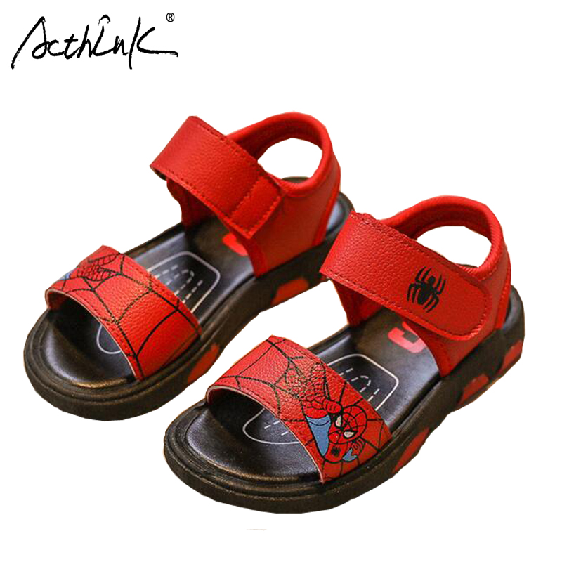 ActhInK New Boys Fashion Spiderman Sandals Boys Summer Breathable Beach Sandals Chirlren Cartoon Printing Soft Sandals for Boys
