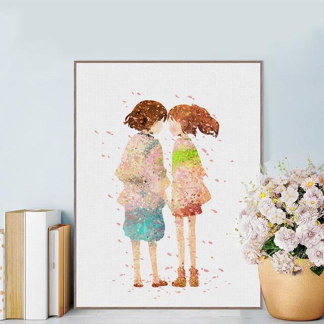 Miyazaki Japanese Cartoon Anime Spirited Away Canvas Art Print Poster Wall Pictures Kids Room Decor Painting No Frame