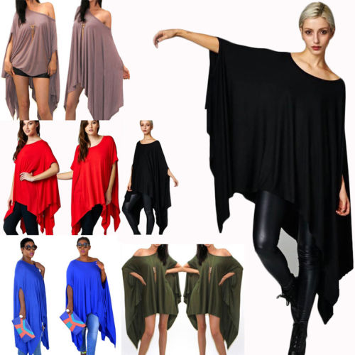 Women-039-s-Fashion-Loose-Baggy-Tunic-Batwing-Sleeve-Tops-T-Shirt-Blouse-Plus-size