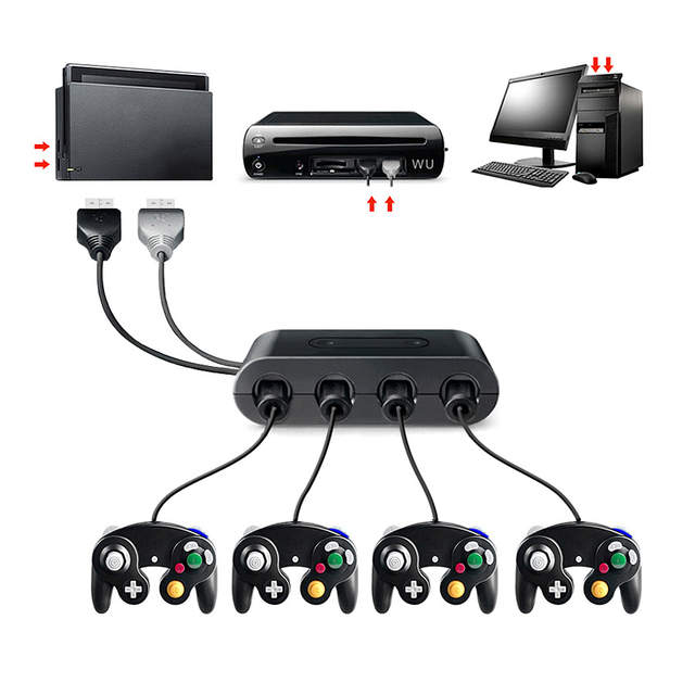 US $11 3 6% OFF|4 Ports for GameCube GCN Controllers USB Adapter Converter  for Nintend Switch/UWii/Emulator Dolphin PC with Turbo/Home Function-in USB
