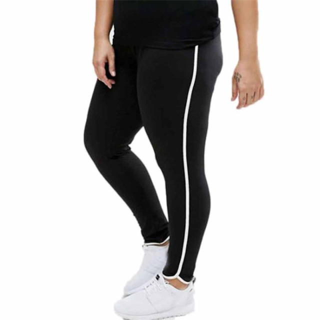 Quick Dry Plus Size women yoga legging pants White side line Running Sports  Trousers Pants Elastic Large size Gym Longs wear  20 0c1db7322cac