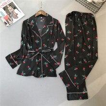 ZOOLIM Sonbahar Kadın Ipek Pijama Setleri Saten Pijama Moda Pijama Iki Adet + kemer Kadın Ev Tekstili Baskı Uyku Salonu