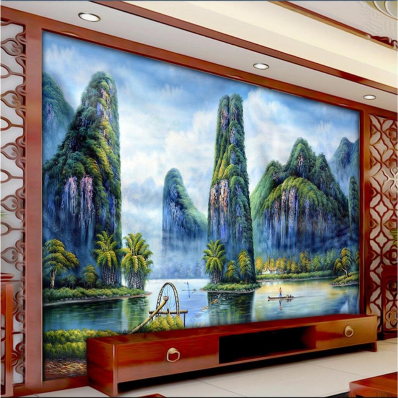 beibehang Custom wallpaper mural any size photos picturesque beautiful rivers and mountains Chinese classical landscape TV wall