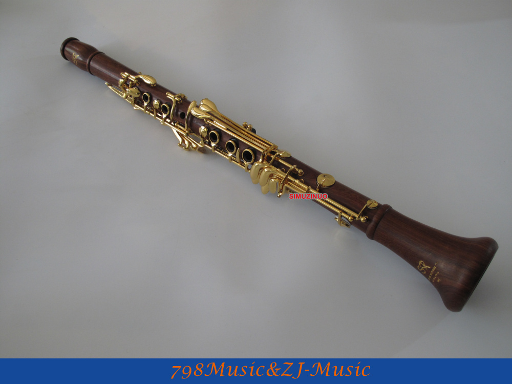 SR New Rose Wooden 19 Key Bb Clarinet With Mouthpiece Gold Lacquer Keys