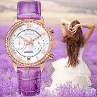 2019 Creative Diamand Women Watches Luxury Rose Gold Rhinestones Ladies Quartz Watch Leather Female Date Clock Relogio Faminino