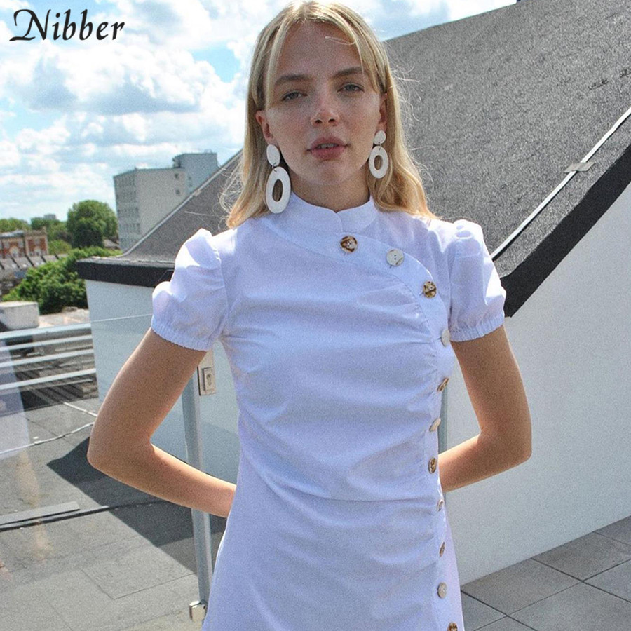 Nibber fashion Button design white midi bodycon dresses womens 2019 summer high street casual wild Slim short sleeve dress mujer