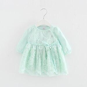 Image 4 - Koronkowy haft perły dziewczynek sukienka dziewczynka ubrania sukienki dla dzieci dzieci odzież suknia vestidos 0 2 lat 3 kolor
