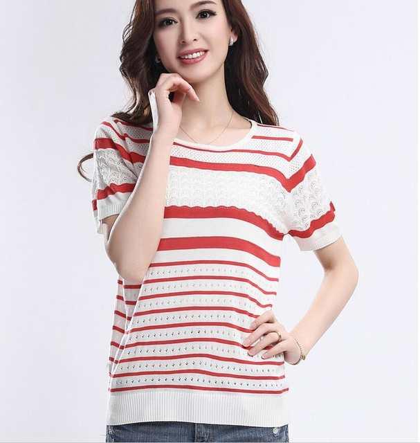 994b637d9f9015 placeholder Summer new ladies silk T-shirt bat sleeves hollow round neck  short sleeve stripes Big